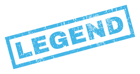 legend: Legend text rubber seal stamp watermark. Caption inside rectangular shape with grunge design and scratched texture. Inclined vector blue ink emblem on a white background.