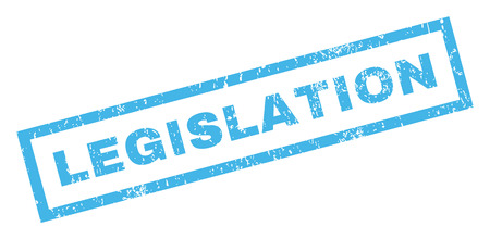 legislation: Legislation text rubber seal stamp watermark. Caption inside rectangular shape with grunge design and dirty texture. Inclined vector blue ink sign on a white background.