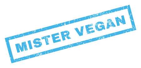 mister: Mister Vegan text rubber seal stamp watermark. Tag inside rectangular banner with grunge design and unclean texture. Inclined vector blue ink sticker on a white background. Illustration