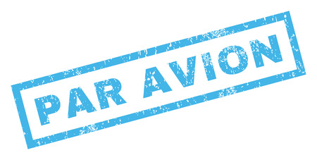 par avion: Par Avion text rubber seal stamp watermark. Tag inside rectangular shape with grunge design and dust texture. Inclined vector blue ink sign on a white background.