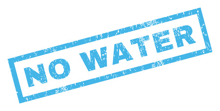 No Water text rubber seal stamp watermark. Tag inside rectangular banner with grunge design and unclean texture. Inclined vector blue ink emblem on a white background.