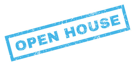 dirty house: Open House text rubber seal stamp watermark. Tag inside rectangular banner with grunge design and dirty texture. Inclined vector blue ink sign on a white background.