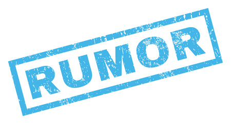 supposition: Rumor text rubber seal stamp watermark. Tag inside rectangular shape with grunge design and scratched texture. Inclined vector blue ink sign on a white background.