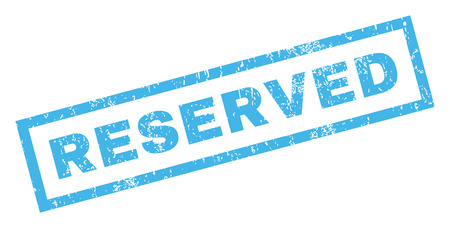 Reserved text rubber seal stamp watermark. Caption inside rectangular banner with grunge design and unclean texture. Inclined vector blue ink sticker on a white background. Illustration