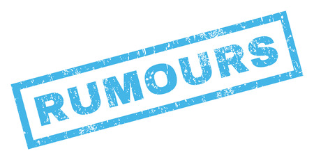 inclined: Rumours text rubber seal stamp watermark. Tag inside rectangular shape with grunge design and unclean texture. Inclined vector blue ink emblem on a white background.