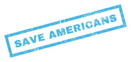inclined: Save Americans text rubber seal stamp watermark. Caption inside rectangular shape with grunge design and dust texture. Inclined vector blue ink emblem on a white background. Illustration