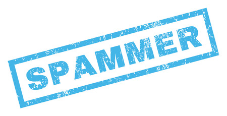 spammer: Spammer text rubber seal stamp watermark. Tag inside rectangular shape with grunge design and scratched texture. Inclined vector blue ink sign on a white background. Illustration