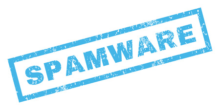 inclined: Spamware text rubber seal stamp watermark. Tag inside rectangular shape with grunge design and dirty texture. Inclined vector blue ink sticker on a white background. Illustration