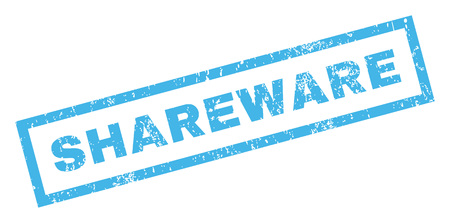 shareware: Shareware text rubber seal stamp watermark. Tag inside rectangular banner with grunge design and scratched texture. Inclined vector blue ink sticker on a white background.