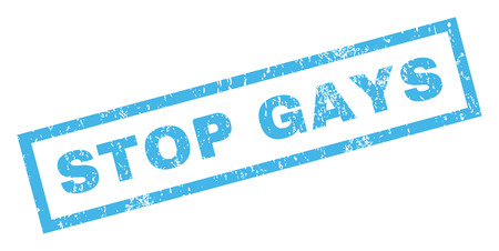 homo: Stop Gays text rubber seal stamp watermark. Tag inside rectangular banner with grunge design and unclean texture. Inclined vector blue ink sticker on a white background.