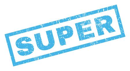 Súper texto sello de goma sello de marca de agua. Etiqueta dentro de forma rectangular con diseño grunge y textura sucia. Incline vector tinta azul signo sobre un fondo blanco.