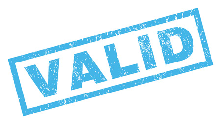 valid: Valid text rubber seal stamp watermark. Tag inside rectangular banner with grunge design and scratched texture. Inclined vector blue ink sticker on a white background.