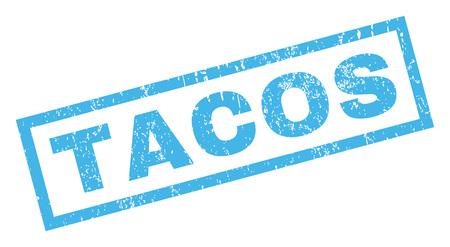 Marca de agua del sello del sello del caucho del texto del Tacos. Subtítulo dentro de la forma rectangular con el diseño del grunge y textura rasguñada. Inclinado signo de tinta azul vector sobre un fondo blanco.