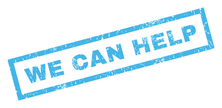 can we help: We Can Help text rubber seal stamp watermark. Caption inside rectangular banner with grunge design and scratched texture. Inclined vector blue ink sticker on a white background.