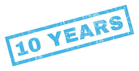 10 years: 10 Years text rubber seal stamp watermark. Tag inside rectangular banner with grunge design and dust texture. Inclined glyph blue ink sign on a white background.