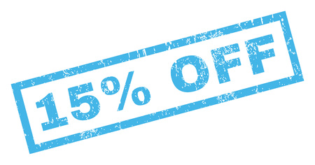 15 Percent Off text rubber seal stamp watermark. Tag inside rectangular banner with grunge design and dust texture. Inclined glyph blue ink sticker on a white background.