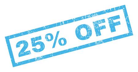 ゴム製シール スタンプ透かしオフ 25%。グランジ デザインやほこりのテクスチャと長方形バナー内キャプションします。白地に青い傾斜グリフ イ 写真素材