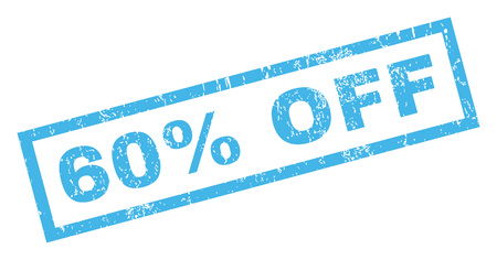 60 Percent Off text rubber seal stamp watermark. Caption inside rectangular shape with grunge design and dust texture. Inclined glyph blue ink emblem on a white background.