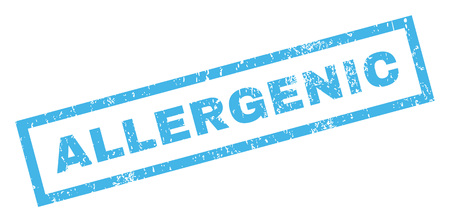 allergenic: Allergenic text rubber seal stamp watermark. Caption inside rectangular banner with grunge design and dust texture. Inclined glyph blue ink sign on a white background. Stock Photo