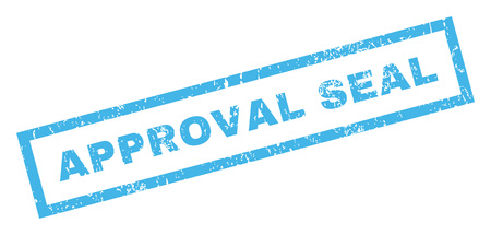 permission granted: Approval Seal text rubber seal stamp watermark. Caption inside rectangular shape with grunge design and unclean texture. Inclined glyph blue ink sticker on a white background. Stock Photo