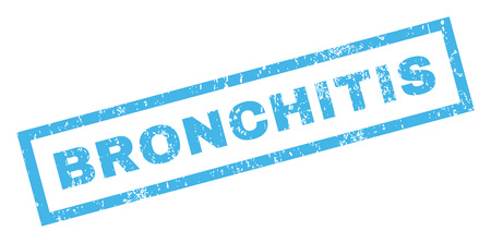 bronchitis: Bronchitis text rubber seal stamp watermark. Tag inside rectangular shape with grunge design and unclean texture. Inclined glyph blue ink sign on a white background.