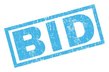 bid: Una oferta de caucho sello de marca de agua de texto sello. En etiqueta bandera rectangular con diseño de grunge y textura rayado. glifo emblema inclinada tinta azul sobre un fondo blanco.