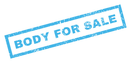 Body For Sale text rubber seal stamp watermark. Tag inside rectangular banner with grunge design and dirty texture. Inclined glyph blue ink sticker on a white background.