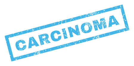 carcinoma: Carcinoma text rubber seal stamp watermark. Caption inside rectangular banner with grunge design and dirty texture. Inclined glyph blue ink emblem on a white background. Stock Photo