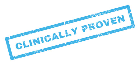 clinically: Clinically Proven text rubber seal stamp watermark. Caption inside rectangular shape with grunge design and dust texture. Inclined glyph blue ink sign on a white background.