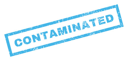 contaminated: Contaminated text rubber seal stamp watermark. Tag inside rectangular shape with grunge design and dust texture. Inclined glyph blue ink sticker on a white background.