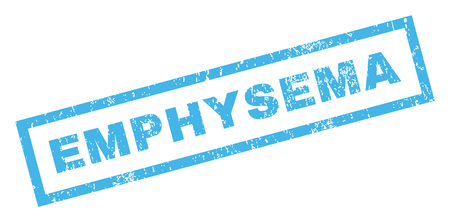 emphysema: Emphysema text rubber seal stamp watermark. Caption inside rectangular banner with grunge design and scratched texture. Inclined glyph blue ink sign on a white background. Stock Photo