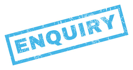 enquiry: Enquiry text rubber seal stamp watermark. Caption inside rectangular banner with grunge design and dust texture. Inclined glyph blue ink emblem on a white background.