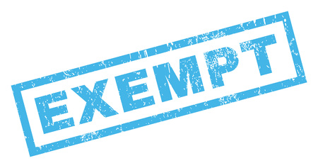 exempt: Exempt text rubber seal stamp watermark. Tag inside rectangular banner with grunge design and dirty texture. Inclined glyph blue ink emblem on a white background.