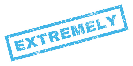 extremely: Extremely text rubber seal stamp watermark. Caption inside rectangular shape with grunge design and scratched texture. Inclined glyph blue ink emblem on a white background.