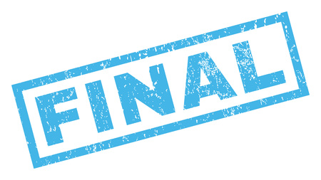 finale: Final text rubber seal stamp watermark. Caption inside rectangular banner with grunge design and scratched texture. Inclined glyph blue ink sign on a white background. Stock Photo