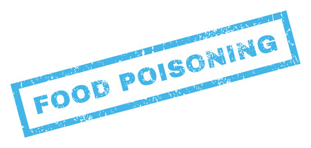 food poison: Food Poisoning text rubber seal stamp watermark. Tag inside rectangular banner with grunge design and unclean texture. Inclined glyph blue ink sticker on a white background. Stock Photo