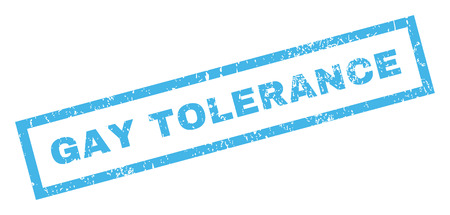 acceptable: Gay Tolerance text rubber seal stamp watermark. Tag inside rectangular shape with grunge design and dirty texture. Inclined glyph blue ink sticker on a white background. Stock Photo