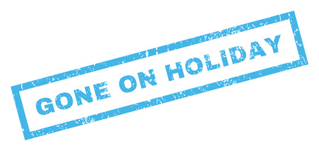 gone: Gone On Holiday text rubber seal stamp watermark. Tag inside rectangular shape with grunge design and unclean texture. Inclined glyph blue ink emblem on a white background.