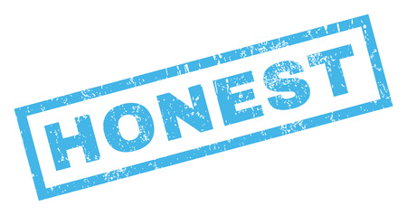 honest: Honest text rubber seal stamp watermark. Tag inside rectangular banner with grunge design and dust texture. Inclined glyph blue ink emblem on a white background. Stock Photo