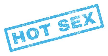 Hot Sex Text Gummidichtung Stempel Wasserzeichen . Tag in rechteckigen Banner mit Grunge-Design und zerkratzt Textur . Schräge Glyphe blaue Kerze Zeichen auf einem weißen Hintergrund