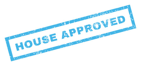 dirty house: House Approved text rubber seal stamp watermark. Tag inside rectangular banner with grunge design and dirty texture. Inclined glyph blue ink sticker on a white background.