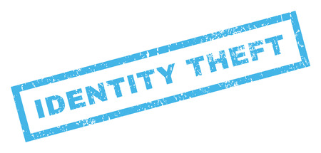 hacked: Identity Theft text rubber seal stamp watermark. Caption inside rectangular banner with grunge design and unclean texture. Inclined glyph blue ink sign on a white background.