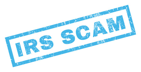 irs: Irs Scam text rubber seal stamp watermark. Tag inside rectangular shape with grunge design and dust texture. Inclined glyph blue ink emblem on a white background.