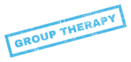 therapy group: Group Therapy text rubber seal stamp watermark. Caption inside rectangular shape with grunge design and scratched texture. Inclined glyph blue ink sticker on a white background.