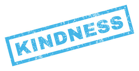 kindness: Kindness text rubber seal stamp watermark. Caption inside rectangular shape with grunge design and unclean texture. Inclined glyph blue ink sign on a white background.