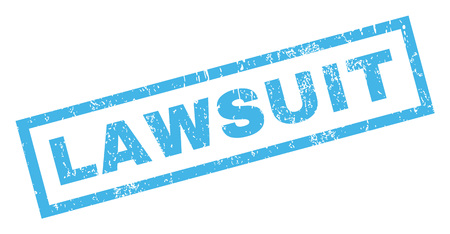 lawsuit: Lawsuit text rubber seal stamp watermark. Caption inside rectangular shape with grunge design and scratched texture. Inclined glyph blue ink emblem on a white background. Stock Photo