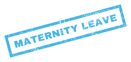 maternity leave: Maternity Leave text rubber seal stamp watermark. Caption inside rectangular banner with grunge design and scratched texture. Inclined glyph blue ink sticker on a white background. Stock Photo