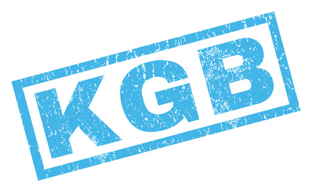 KGB text rubber seal stamp watermark. Caption inside rectangular banner with grunge design and dust texture. Inclined glyph blue ink emblem on a white background.