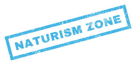 naturism: Naturism Zone text rubber seal stamp watermark. Tag inside rectangular shape with grunge design and dust texture. Inclined glyph blue ink emblem on a white background.