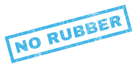 No Rubber text rubber seal stamp watermark. Caption inside rectangular shape with grunge design and unclean texture. Inclined glyph blue ink sign on a white background.